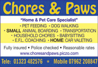 Pet care specialist - dog walking - small animal boarding - pet feeding